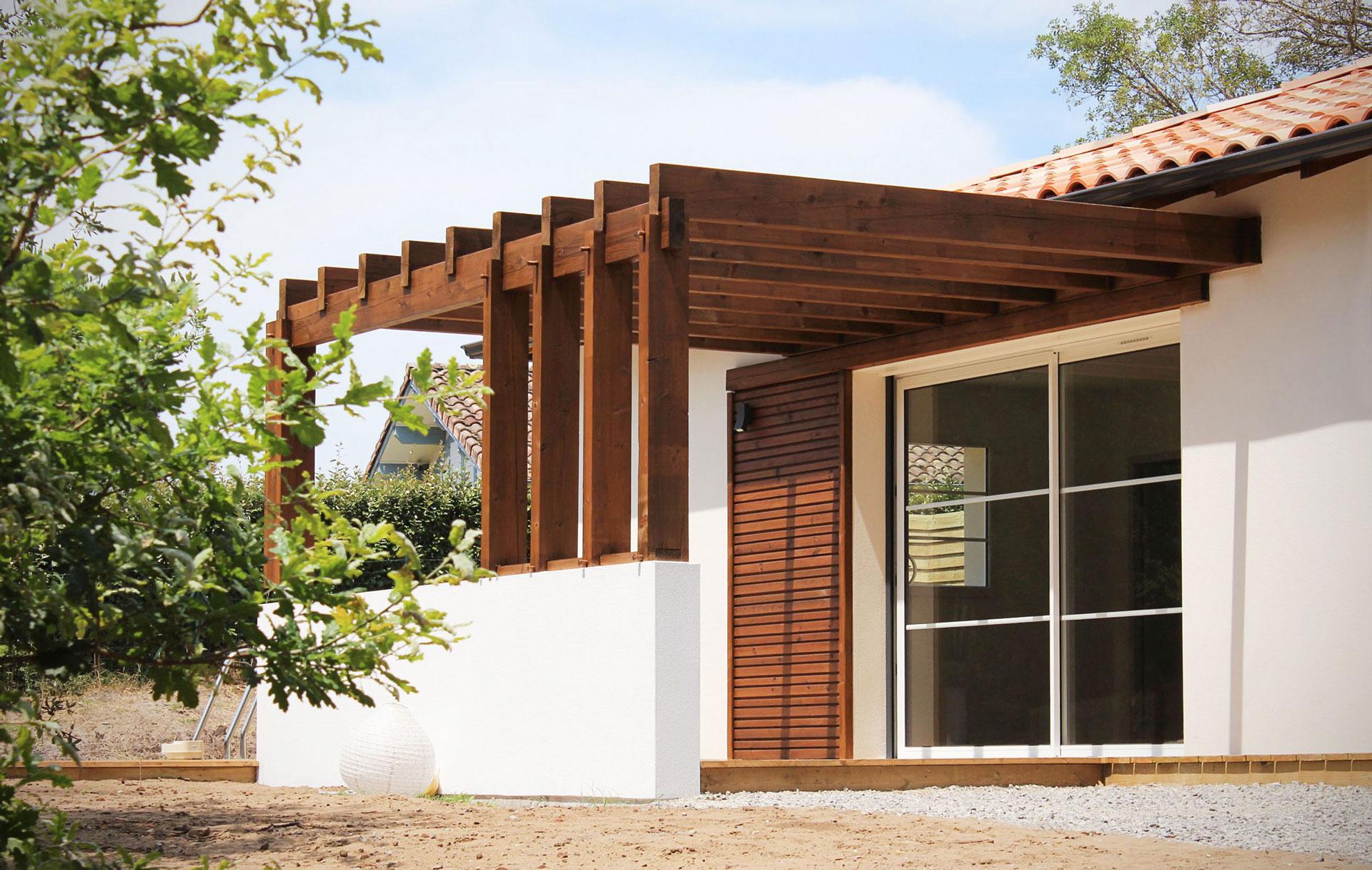 Construction Maison Landaise Moderne Pergola Bois Originale